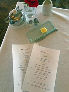 Personalized breakfast menus at Natalie's
