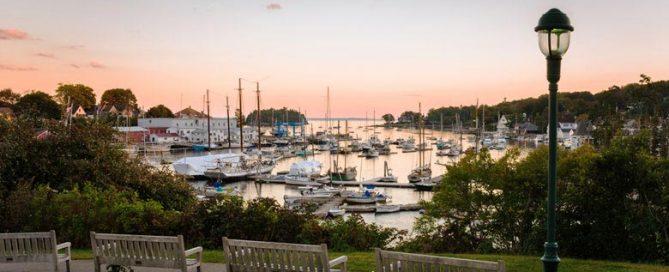 Park overlooking Camden Harbor, Maine