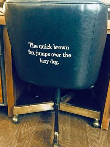 back of the desk chair