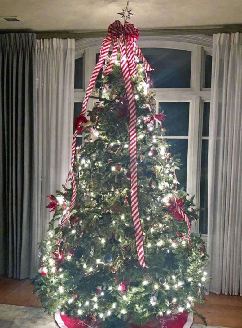 Christmas tree decorated with lights and ornaments