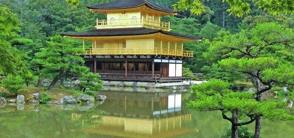 Pagoda in Japan overlooking lake