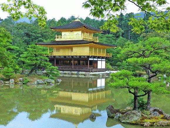 Pagoda in Japan overlooking lake