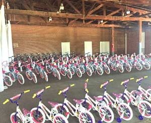 Bicycles assembled by Junior League members