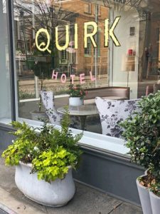 Window of the Quirk Hotel in Richmond, VA