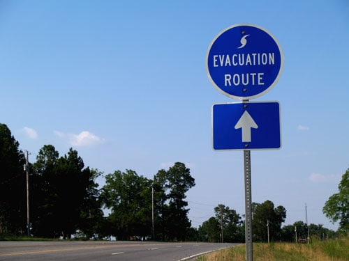 Evacuation Route Highway Sign