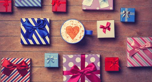 gifts on a wooden surface