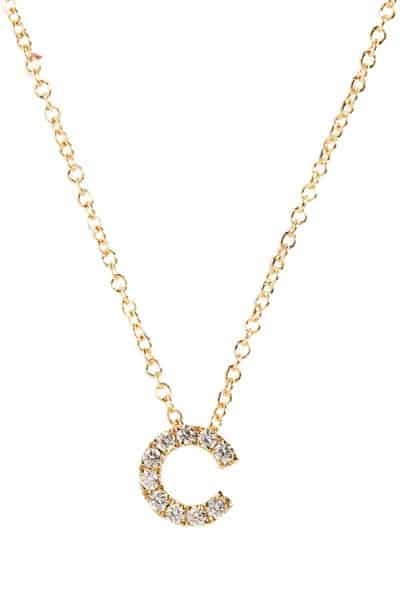 pave diamond initial necklace