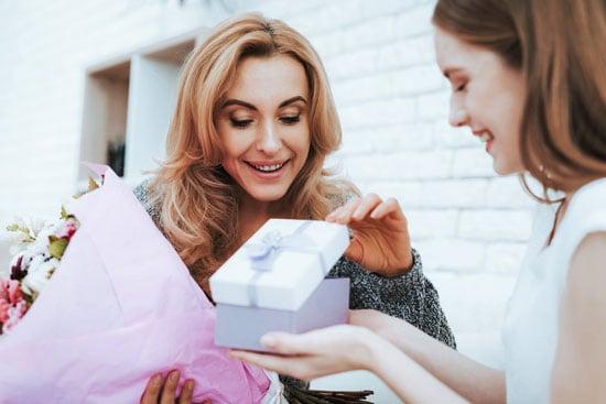 stepmom receiving a gift